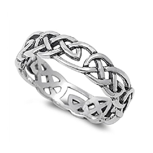 CloseoutWarehouse Sterling Silver Celtic Wicca Pagan Eternity Ring (Sizes 2-15)
