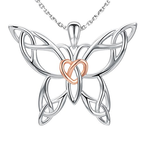 MANBU 925 Sterling Silver Charm Celtic Knot Heart or Glow Butterfly Pendant Necklace Animal Gifts for Women