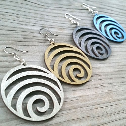 Wave laser-cut wood earrings sustainable eco-jewelry CHOOSE COLOR #1054