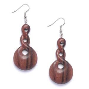 81stgeneration Women's Wood .925 Sterling Silver Triple Twist Pylorus Brown Dangle Earrings