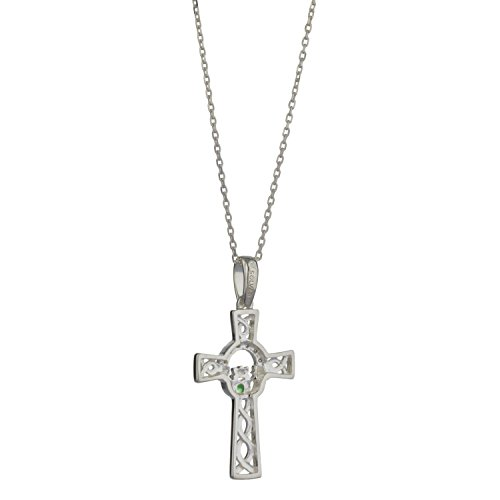 """Celtic Cross Pendant Silver incorporating Claddagh Necklace Design,18"""" Silver Chain"""