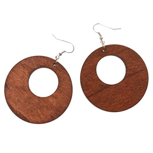 Jili Online Ethnic Women's Wood Geometric Earrings Ear Studs Hook Wooden Drop Dangle Gift