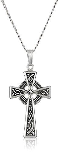 "Sterling Silver Celtic Cross Pendant Necklace , 18"""