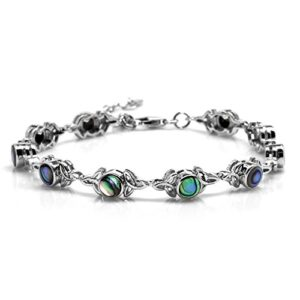 """Abalone/Paua Shell Inlay 925 Sterling Silver Triquetra Celtic Knot 7-8.5"""" Adjustable Bracelet"""