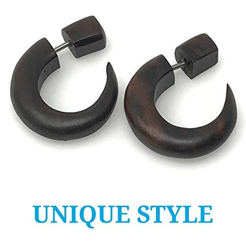 UMBRELLALABORATORY Tribal Organic Wooden Earrings Fake Gauges Sold As Pair Bohemian Jewelry w 12