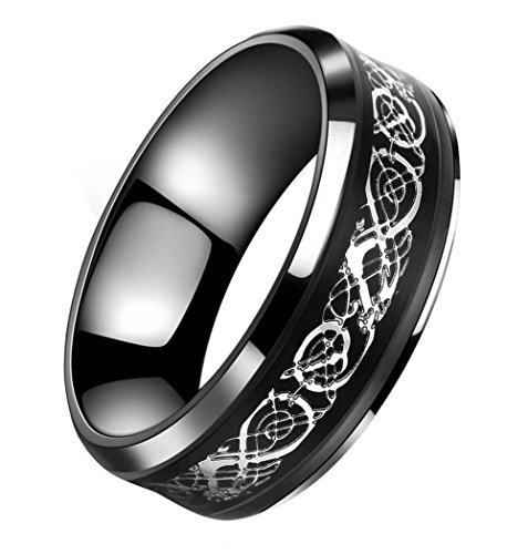Tanyoyo 8mm Black Stainless steel Ring Silver Celtic Dragon Wedding Band Size 7-14