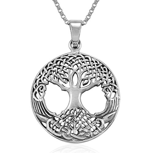 MIMI Sterling Silver Celtic Knot Ancient Tree Of Life Round Pendant Necklace, 18 inches