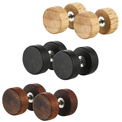 JewelrieShop Natural Wood Screw Studs Earrings for Men Women Fake Gauges Illusion Ear Piercing Ear Plugs Tunnel, 3 Pairs 17 Gauges