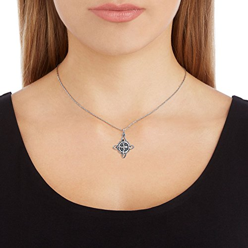 """925 Sterling Silver Celtic Triquetra Trinity Knot Good Luck Pendant Rolo Chain Necklace, 18"""""""
