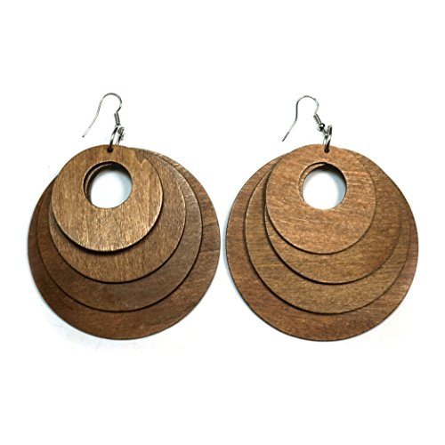 Teri's Boutique Boho Assorted Size Round Circle Dangle Fashion Jewelry Wood Earrings