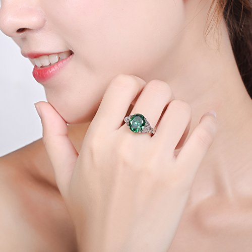 Merthus Womens 925 Sterling Silver Created Emerald Celtic Knot Ring
