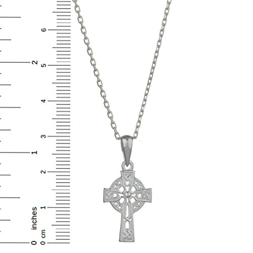 """Celtic Cross Sterling Silver Pendant with 18"""" Silver Chain"""