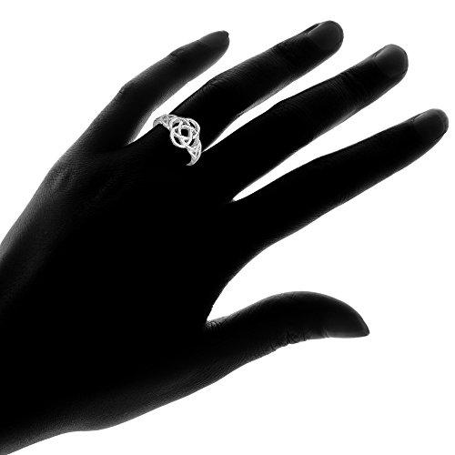 Sterling Silver High Polished Filigree Five-Fold Celtic Knot Ring