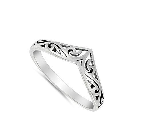 Filigree Celtic Chevron Thumb Ring 925 Sterling Silver Victorian Band Sizes 3-12