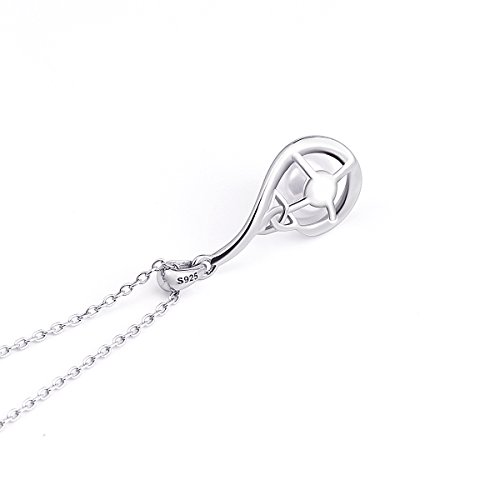 S925 Sterling Silver Good Luck Irish Celtic Knot Triangle Vintage Synthetic Pearl Pendant Necklace, 18 ''
