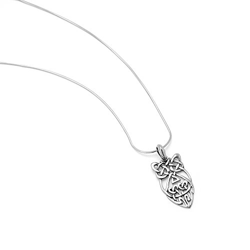 """925 Sterling Silver Open Celtic Knot Abstract Wisdom Owl Pendant Necklace for Women, 18"""" Chain"""