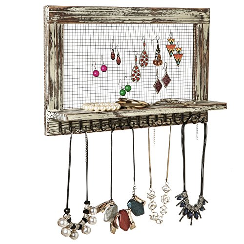 MyGift Vintage Wood & Chicken Wire Wall-Mounted Jewelry Organizer & Display Shelf with 16 Necklace Hooks