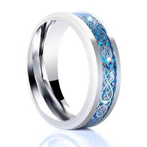 YJ.GWL 8mm Titanium Celtic Dragon Rings for Men Women Silver Blue Carbide Beveled Edge Stainless Steel Wedding Band Size 7-14