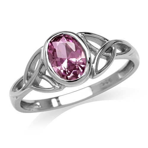 Simulated Color Change Alexandrite White Gold Plated 925 Sterling Silver Triquetra Celtic Knot Ring