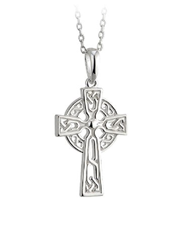 Celtic Cross Necklace for Women Sterling Silver Two Sided Irish Made