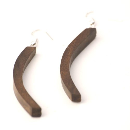 81stgeneration Women's Wood .925 Sterling Silver Curved Long Brown Dangle Earrings