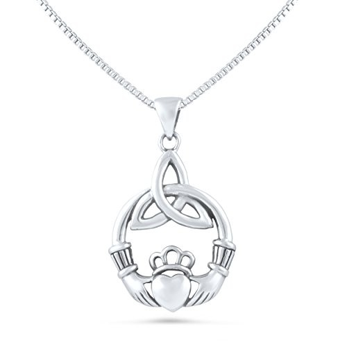 """Sterling Silver Celtic Heart Claddagh Necklace (18"""" Box Chain Included)"""