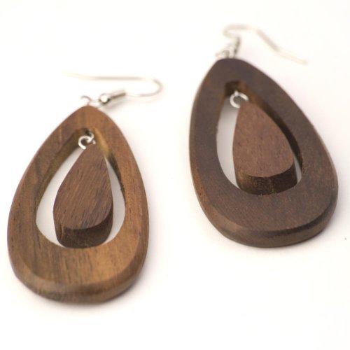 81stgeneration Women's Wood .925 Sterling Silver Teardrop Brown Dangle Earrings