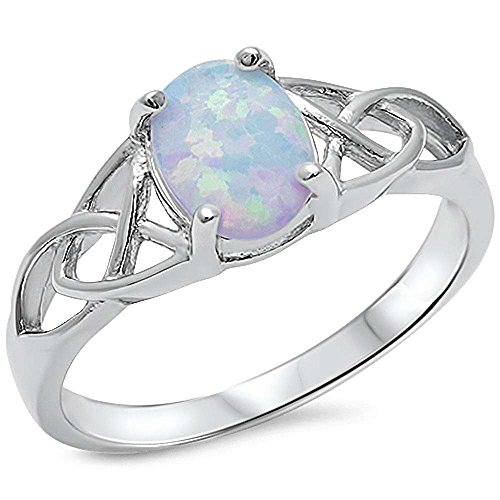 Oval Lab Created White Opal Celtic Design Band .925 Sterling Silver Ring Sizes 4-12 RO150357