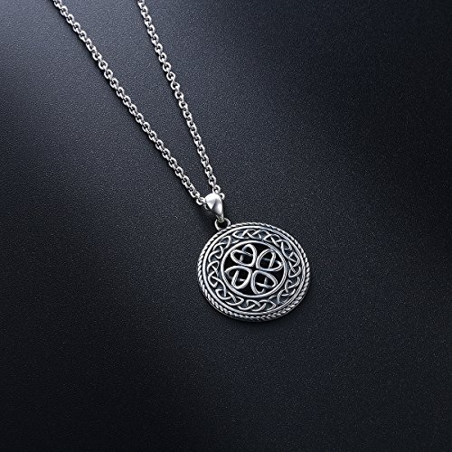 SILVER MOUNTAIN 925 Sterling Silver Jewelry Oxidized Good Luck Irish Knot Celtic Medallion Round Pendant Necklace, 20 inch