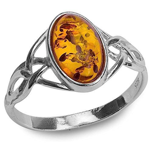 Sterling Silver Amber Celtic Ring
