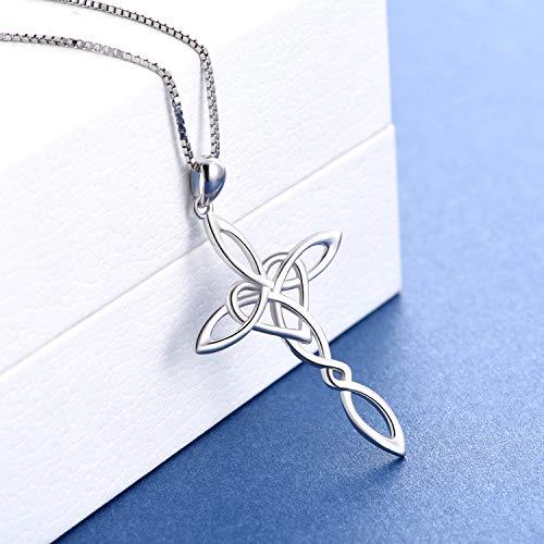 "Celtic Cross Necklace, Sterling Silver Infinity Love Heart Celtic Jewelry for Women Girls, 18"""