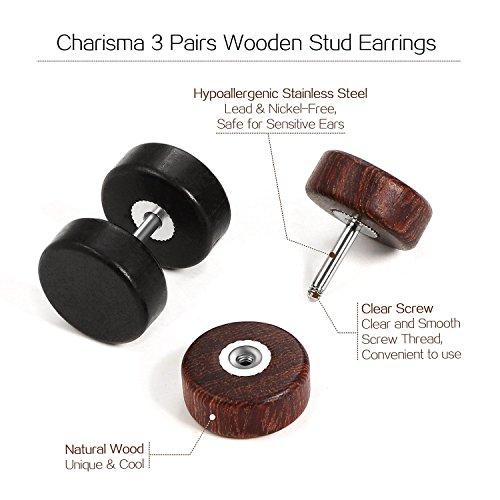 Charisma Stud Earrings for Men Women Fake Ear Gauges Plugs Tunnel Piercing Hypoallergenic Punk Rock Fashion 3/5 Pairs