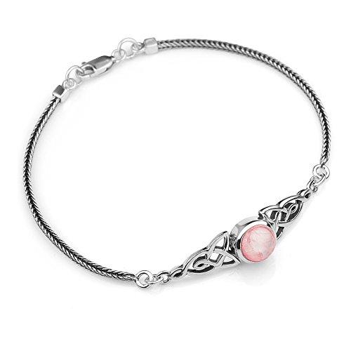 "Chuvora 925 Sterling Silver Genuine Gemstone Celtic Trinity Knot Triquetra Triskelion Trikele Bracelet 8"""
