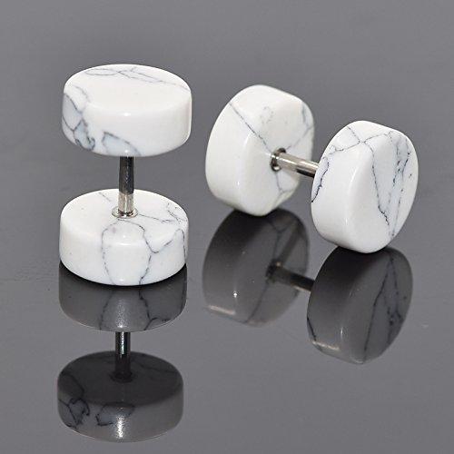 Longbeauty Wood&Stone Fake Ear Gauge-Ear Plug-Ear Stud Earrings IN 4 Style