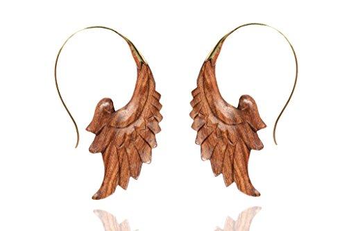 Nepali Craft Wooden Tribal Handmade Brown Organic Wood Fake Earring WER414