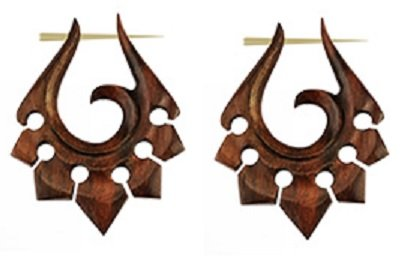 Pair of Organic Hand Carved Sono Wood Tribal Ornament Stirrup Hanger Earrings