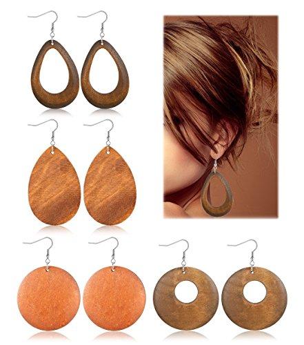 JOERICA 4 Pairs Statement Dangle Earrings for Women Girls Ethnic Wood Drop Earrings Stainless Steel Stud