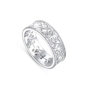 DAOCHONG Nickel-Free 925 Sterling Silver Good Luck Irish Love Trinity Woven Celtic Knot Band Ring for Women Gift, Size 5 6 7 8 9 10