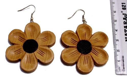 A Pair of Brown Black Strap Danglers Coco Wooden Boho Hippie Wood Earrings Sew_50
