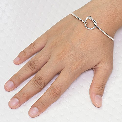 "Chuvora 925 Sterling Silver Open Heart Knot Endless Love Symbol Openable Hook Bangle Bracelet 8"""