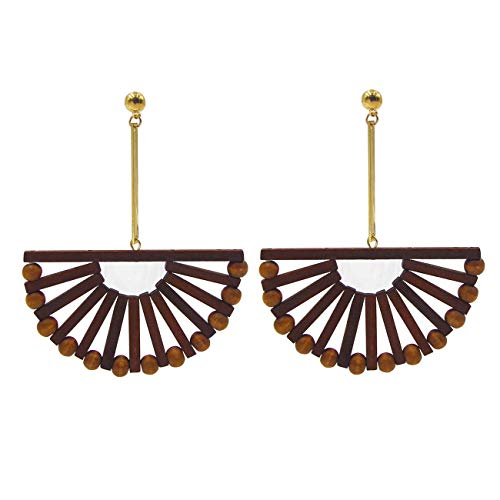 Handmade Wood Ark Shaped Drop Earrings
