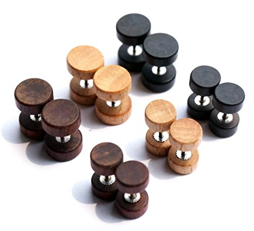 Wood Wooden Vintage Round Circle Fake Cheater Plugs Tunnel Unisex Stainless Steel Stud Earrings Lot Set