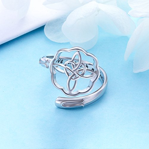 Shaoan Jewelry Inspirational Jewelry Sterling Silver Engraved Love Strength Motivation Celtic Cross Wrap Ring Graduation Gift for Her