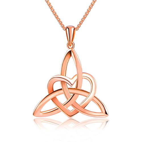 """Sterling Silver Good Luck Irish Celtic Knot Triangle Lover Heart Shaped Pendant Necklace, 18"""""""