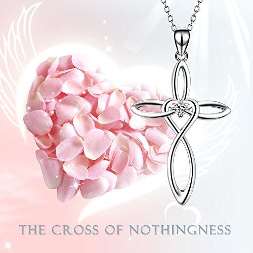 """YFN Celtic Knot Cross Pendant Sterling Silver Women Jewelry Heart Love Necklace 18"""""""