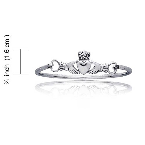 925 Silver Celtic Claddagh Heart Cuff Bracelet