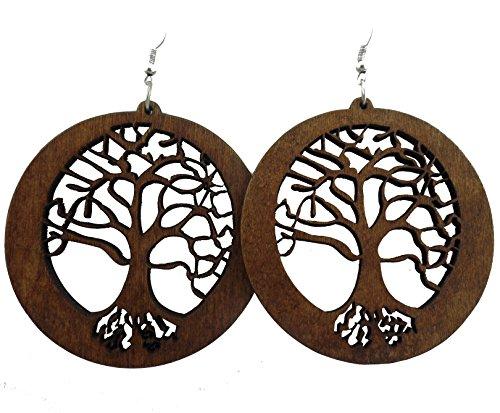 Tree of Life Earrings - Wood Earrings - Tree Earrings - Wooden Earrings Circle of Life