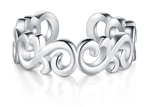 BORUO 925 Sterting Silver Toe Ring, Celtic Knot Adjustable Band Ring