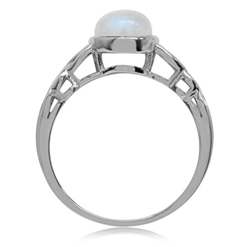 Natural Moonstone White Gold Plated 925 Sterling Silver Celtic Knot Solitaire Ring