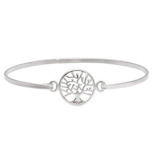 Silverly Women's .925 Sterling Silver Tree Of Life Shield Pressure Hook Bangle Bracelet